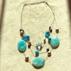 Fun multi strand blue beaded necklace